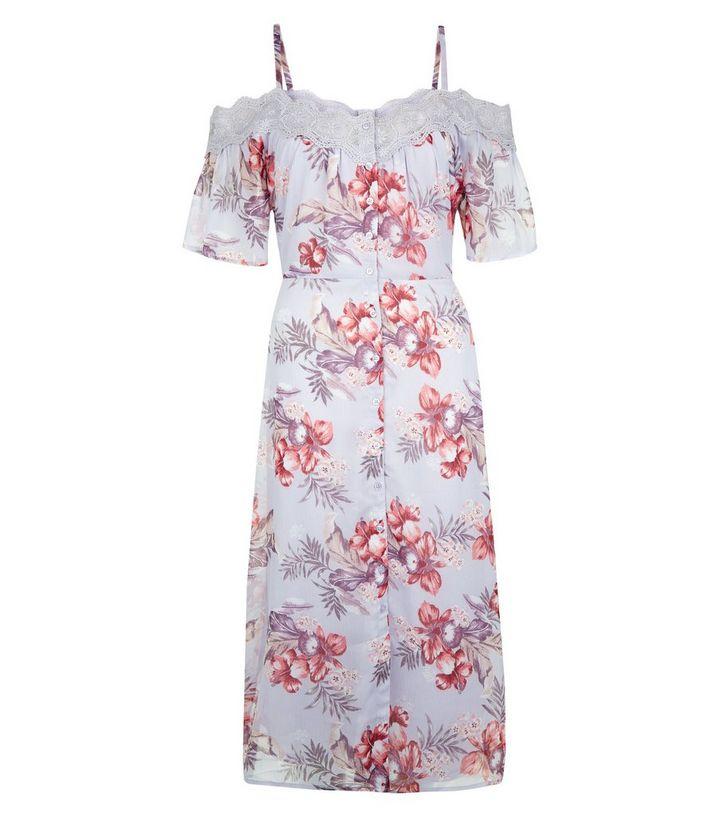 e8049a970dfe ... Lilac Floral Print Lace Trim Cold Shoulder Midi Dress. ×. ×. ×. Shop  the look