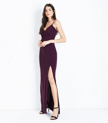 AX Paris Dark Purple V Neck Split Side Maxi Dress New Look