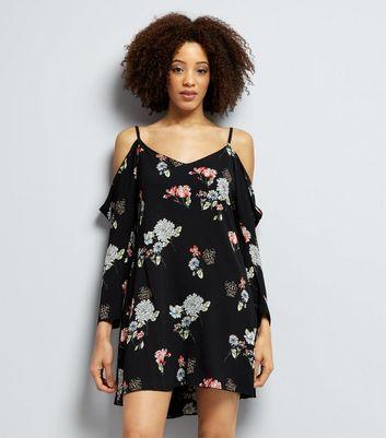 AX Paris Black Floral Print Cold Shoulder Dress New Look