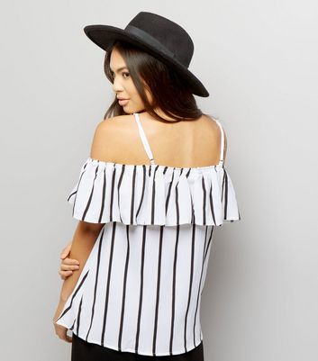 AX Paris White Stripe Frill Trim Top New Look