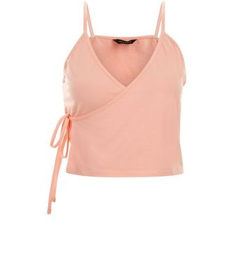 Orange Wrap Front Cami Top New Look