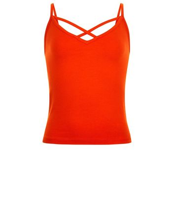 Teens Orange Cross Front Cami New Look
