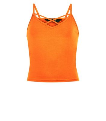 Teens Bright Orange Cross Front Cami New Look