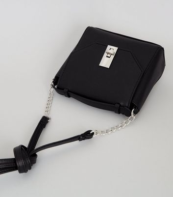 Black Chain Strap Cross Body Bag New Look