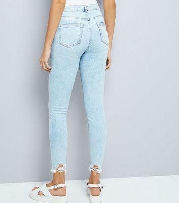 Blue Acid Wash Fray Hem Skinny Jenna Jeans New Look