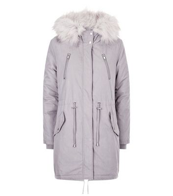 Grey Faux Fur Trim Hooded Fishtail Parka New Look