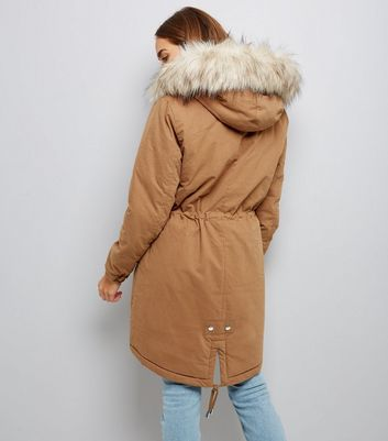 Camel Faux Fur Trim Hooded Fishtail Parka New Look