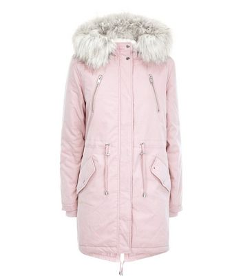 Pink Faux Fur Trim Hooded Fishtail Parka New Look