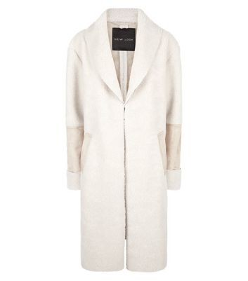 Stone Faux Shearling Longline Coat New Look