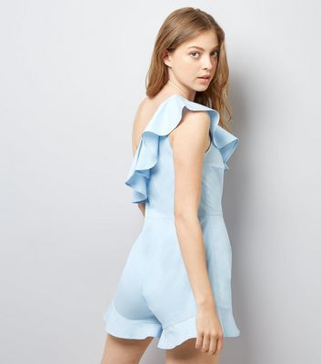 Pale Blue Frill Trim Off the Shoulder Playsuit New Look