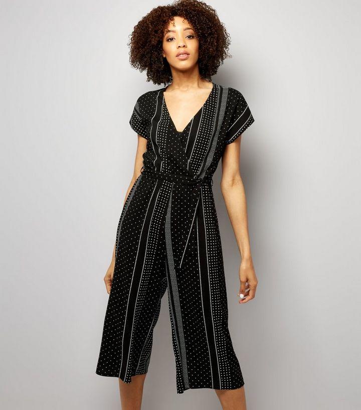 d0cfad5ecc Black Spot Print Wrap Front Culotte Jumpsuit
