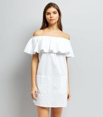 White Frill Trim Bardot Neck Dress New Look