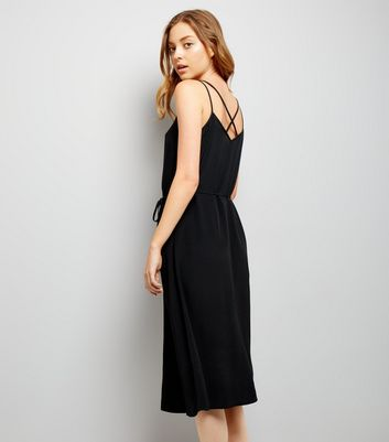 Black Button Front Midi Dress New Look
