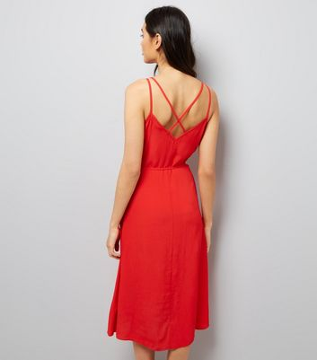 Red Button Front Tie Waist Midi Dress New Look