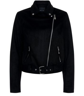 Black Suedette Biker Jacket New Look