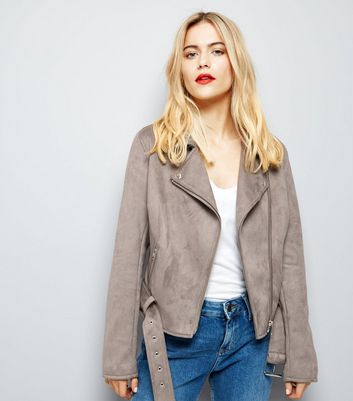 Grey Suedette Biker Jacket New Look