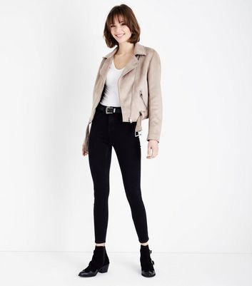 Stone Suedette Biker Jacket New Look