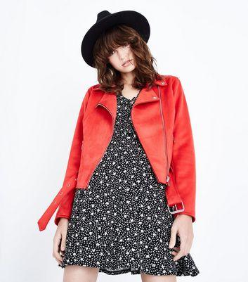 Red Suedette Biker Jacket New Look
