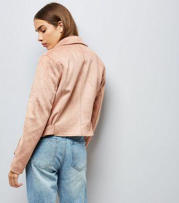Shell Pink Suedette Biker Jacket New Look
