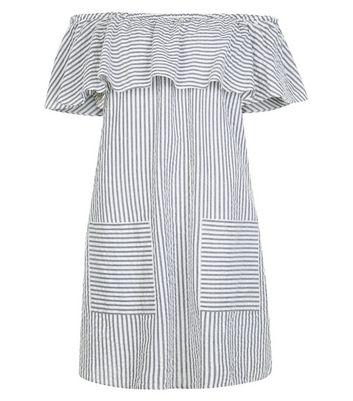 Blue Stripe Frill Trim Bardot Neck Dress New Look