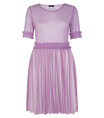 Purple Spot Mesh Frill Trim Skater Dress New Look