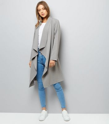 Grey Waterfall Belted Duster Coat New Look