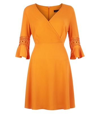 Orange Crochet Bell Sleeve Skater Dress New Look