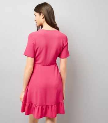 Pink Frill Hem Wrap Dress New Look