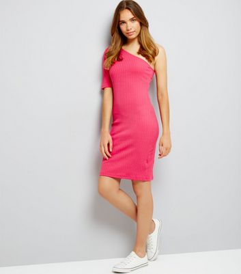 Bright Pink Off the Shoulder Ribbed Bodycon Dress New Look