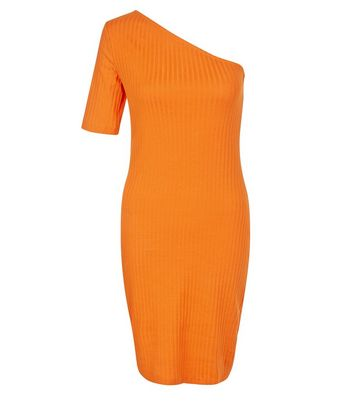 Orange Ribbed One Shoulder Bodycon Dress New Look