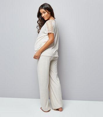 Maternity Cream Jersey Pyjama Joggers New Look