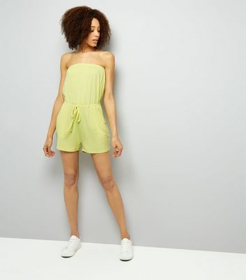Yellow Jersey Bandeau Playsuit New Look
