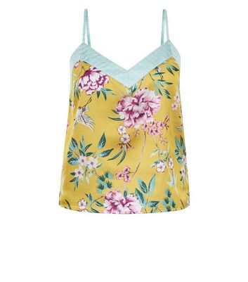 Yellow Floral Print Pyjama Cami Top New Look