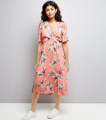Coral Floral Print Wrap Front Midi Dress New Look