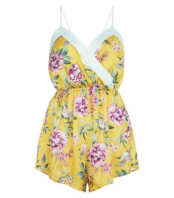 Yellow Floral Print Satin Lounge Playsuit New Look