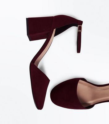 Wide Fit Burgundy Suedette Round Toe Court Shoes New Look