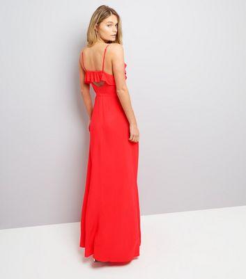 Red Frill Trim Maxi Dress New Look
