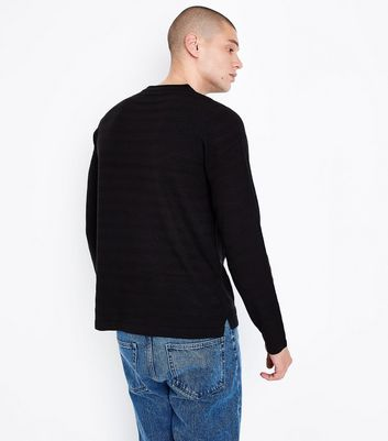 Black Ripple Stitch Crew Neck Jumper New Look