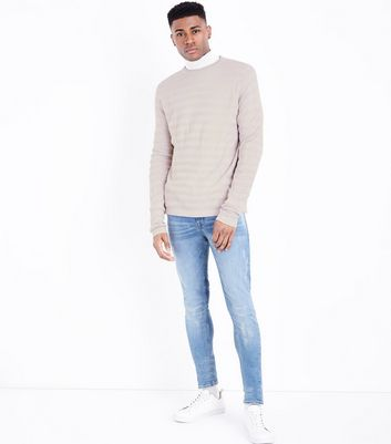 Pink Textured Stripe Crew Neck Top New Look