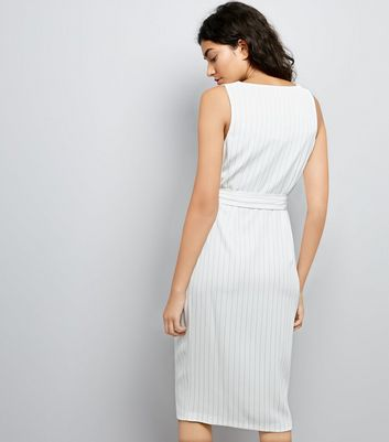 White Pinstripe D Ring Strap Pencil Dress New Look