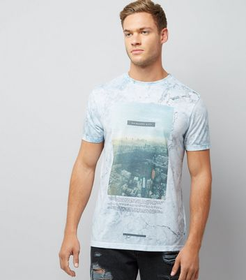 Mint Green Marble Shinjuku City Print T-Shirt New Look