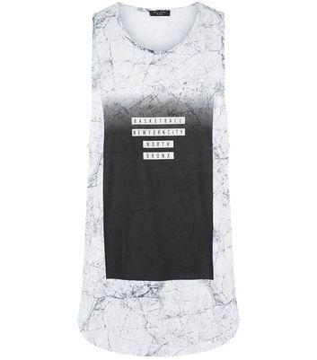 Black Marble Print Basketball Vest New Look