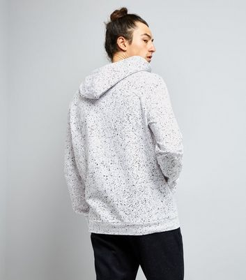 White Spray Wash Hoodie New Look