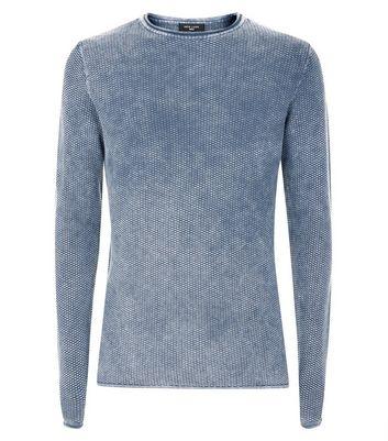 Blue Textured Acid Wash Long Sleeve Top New Look