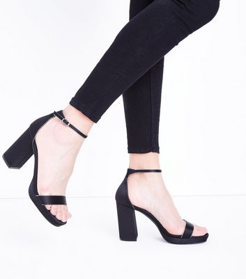 Black Satin Ankle Strap Block Heels New Look
