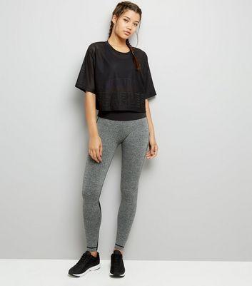 Black Fearless Applique Mesh Sports T-Shirt New Look