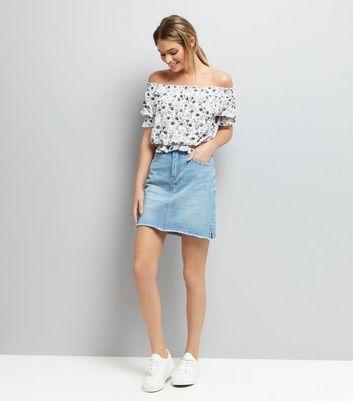 Blue Ditsy Floral Print Shirred Bardot Neck Top New Look