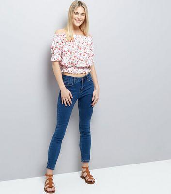 Pink Ditsy Floral Print Bardot New Look