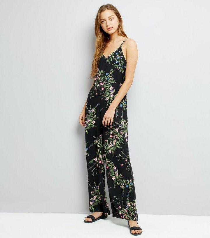 42e1f9ad9a7 Black Floral Print Strappy Jumpsuit