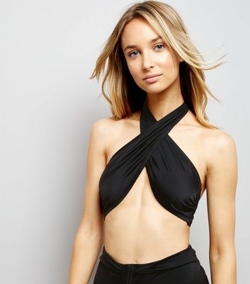 Black Multi Way Tie Bikini Top New Look